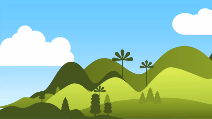2d Animation Of Mountain Landscape Stock Footage Video