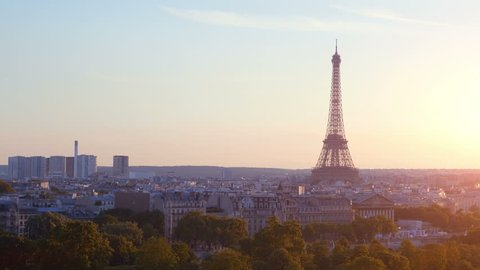 High quality video of aerial view on Eiffel Tower in Paris on the sunset in 4k