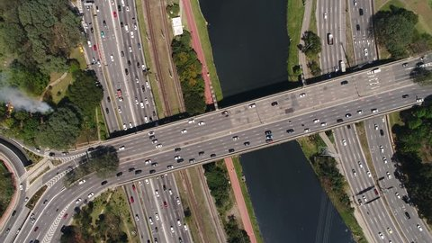 Top View of Marginal Pinheiros in Sao Paulo, Brazil