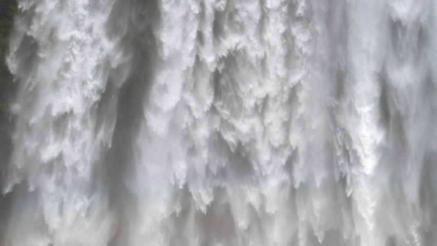 Waterfall close up slow motion, Skogafoss Iceland