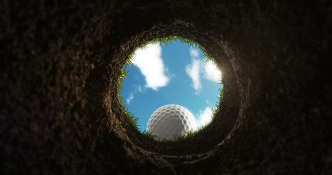 The golf ball gets into the hole, the hole view