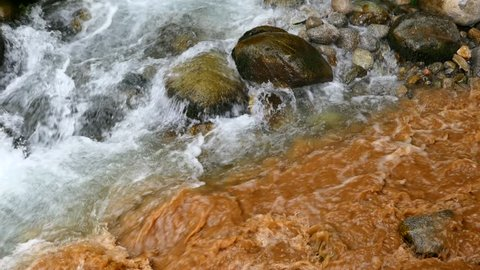 Dirty Polluted Water Flowing Into Clean Brook