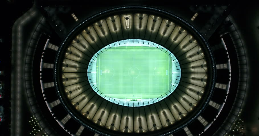 RUSSIA, KRASNODAR - JUL 22, 2017: Aerial top view in air over FC Krasnodar stadium