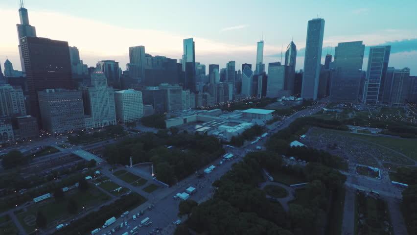 Chicago Skyline Buckingham Fountain Dusk Aerial | Shutterstock HD Video #30287551