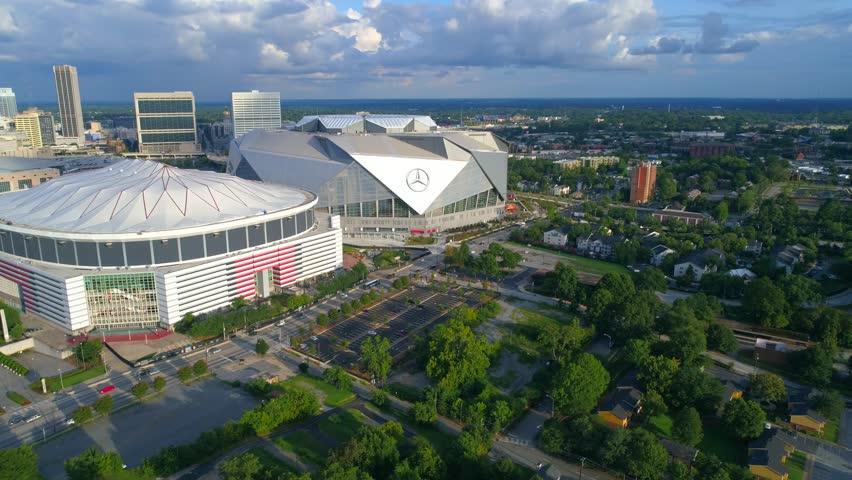ATLANTA, GA, USA - AUGUST 10, 2017: Aerial drone footage of Atlanta Georgia sports stadiums