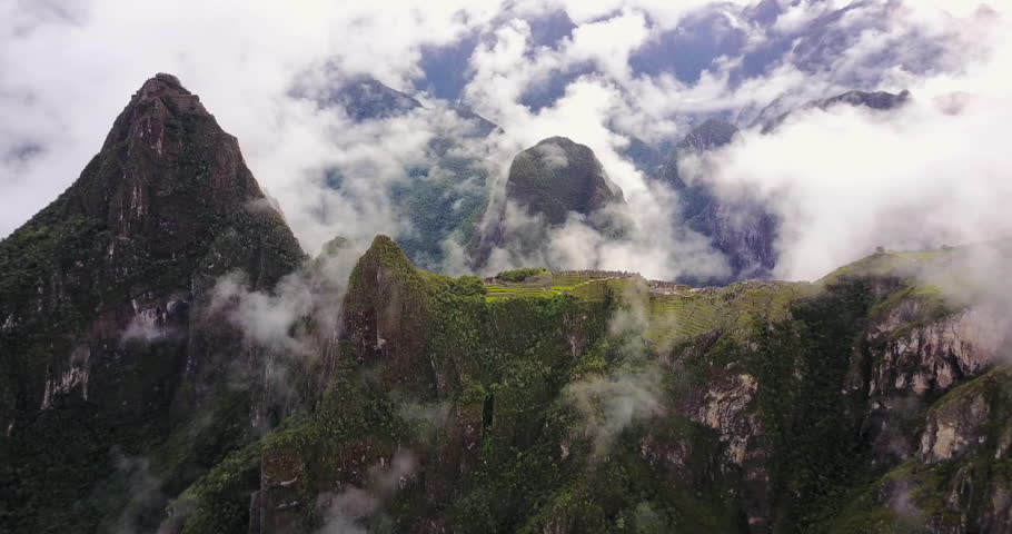 Machu Picchu Peru Aerial v5 Birdseye view flying around ancient ruins