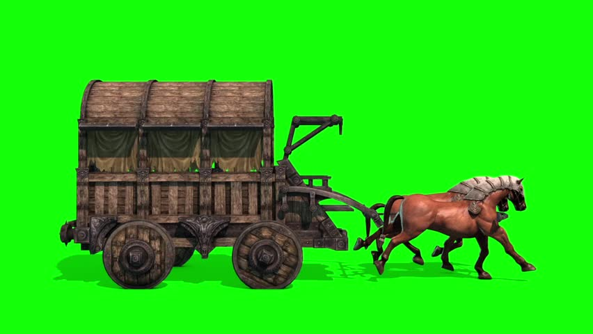 Carriage Horses Run Side Green Screen 3D Rendering Animation