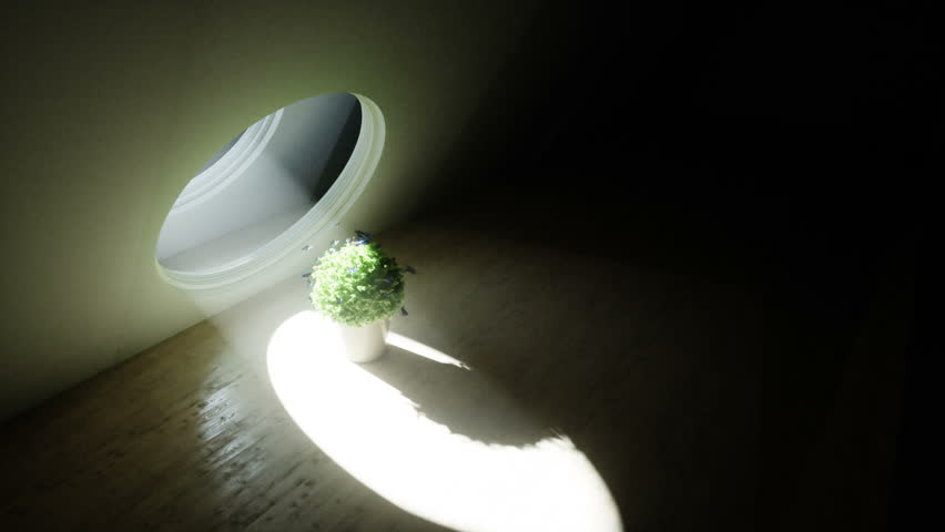 Futuristic room with flower pot and butterflyes around. Volumetric light. Future concept. Realistic 4k animation.