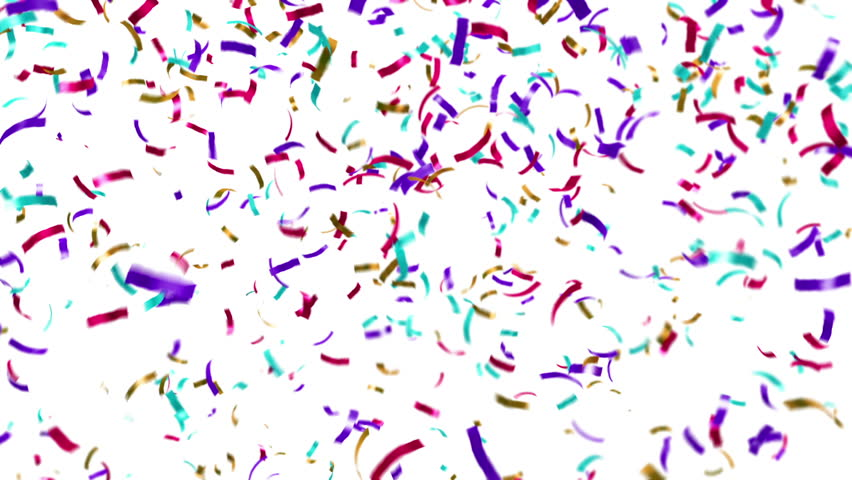 Loopable animation of colorful confetti falling