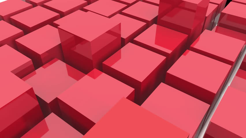 4k tech blockchain data background,abstract 3d red metal cubes animation.cg_3977_4k