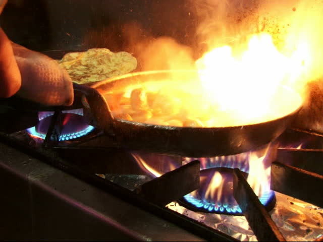 Saucepan On Fire During Cooking Stock Footage Video