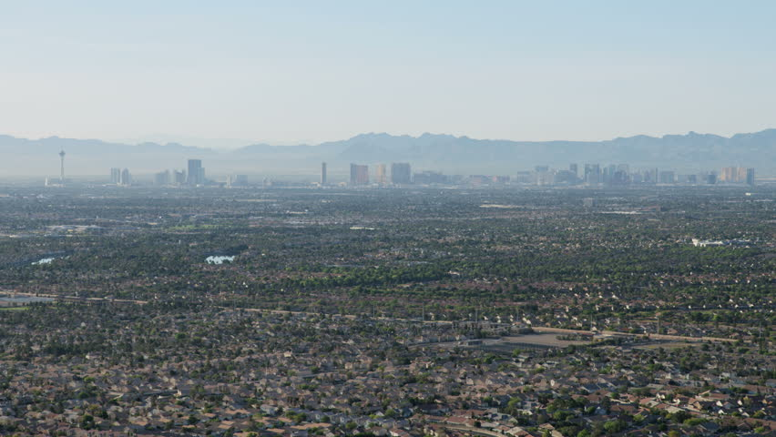 Aerial Suburban Residential Homes A Cityscape View Of Las Vegas City Resort Hotels And S Mojave
