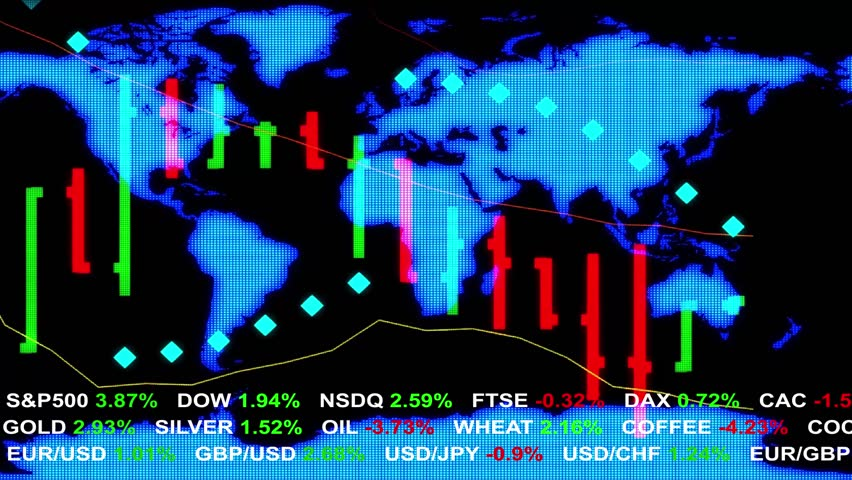 Forex Stock Market Ticker News Line And Holographic Earth Map On Background New Quality Financial Business Animation Dynamic Motion Video