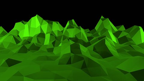 Green low poly background vibrating. Abstract low poly surface as lovely background in stylish low poly design. Polygonal mosaic background with vertex, spikes. Nice modern 3D design