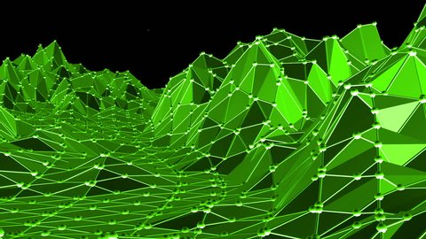 Green low poly background vibrating. Abstract low poly surface as cyber background in stylish low poly design. Polygonal mosaic background with vertex, spikes. Nice modern 3D design Free space