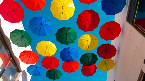 Street Decorated With Colored Umbrellas in Cagnes-sur-Mer, France - 4K Video