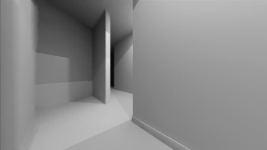 A first-person view of a trip through a 3D illustrated white-walled maze.  1 minute long.  Looped. 1920x1080.  30fps.
