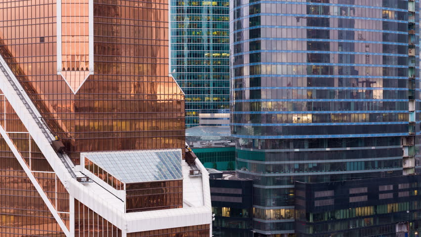 Evening time moscow modern city front glass building windows aerial panorama 4k time lapse | Shutterstock HD Video #30567997