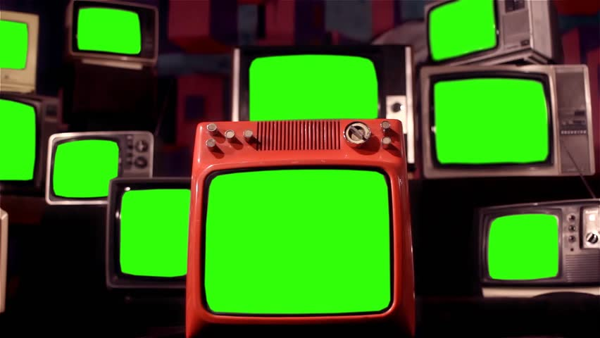 "Vintage TVs Green Screen.  Zoom In. You can Replace Green Screen with the Footage or Picture you Want with ""Keying"" Effect in AE  (Check out Tutorials on YouTube). #30573967"