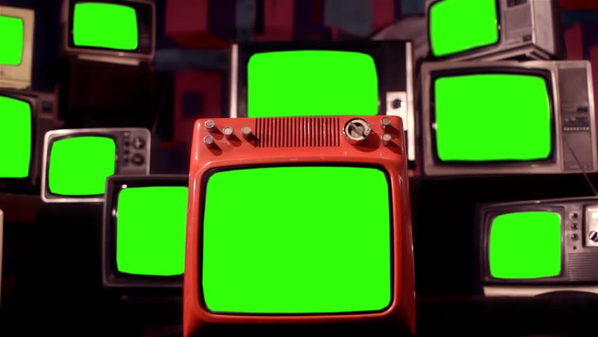 "Vintage Tvs with Green Screens.  Many 80s Tvs With Green Screen. Zoom In. Ready to Replace Green Screens with Any Footage or Picture you Want. You Can Do it With ""Keying"" Effect. Full HD. 