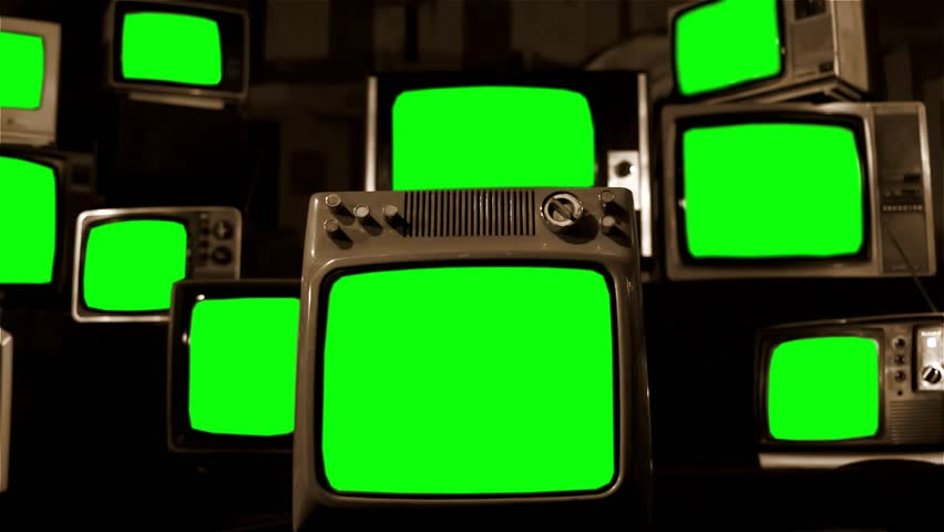 Vintage Tv Green Screens
