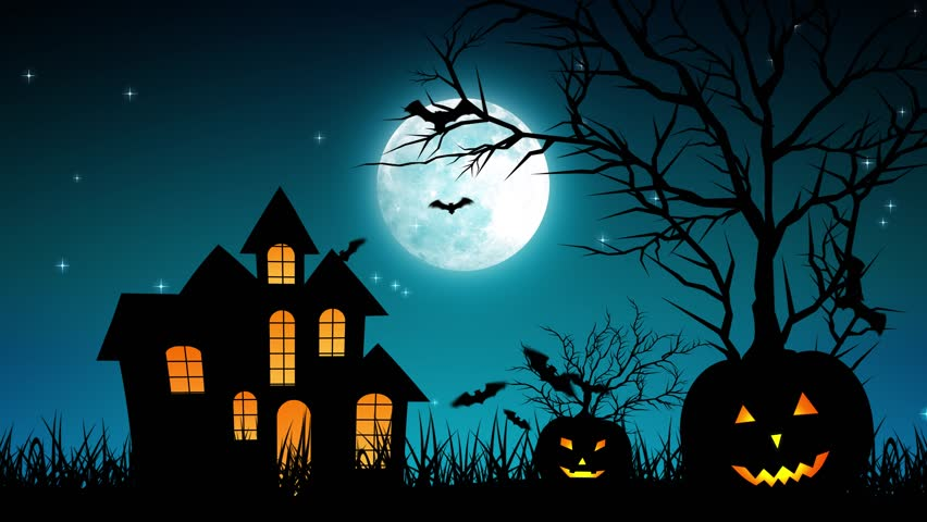 Halloween background animation with the concept of Spooky Pumpkins, Moon and Bats and Haunted Castle. | Shutterstock HD Video #30577747