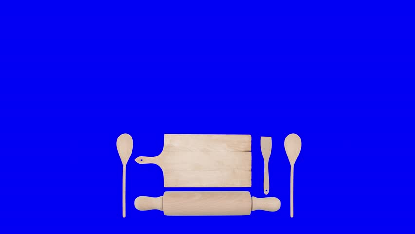 Lower thirds animation: small kitchen utensils (cutting board, rolling pin, spatula, spoon) appear and disappear. On green, blue, white and black backgrounds.