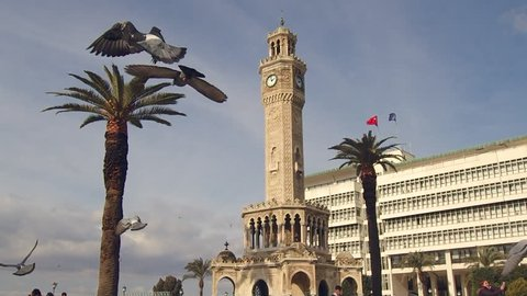 Slow Motion Flying Birds Around Izmir Clock Tower