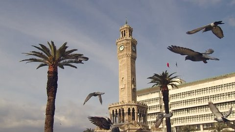 Slow Motion Flying Birds Around Izmir Clock Tower