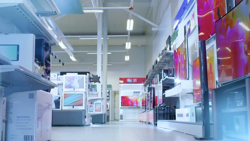 Time-Lapse Footage of Busy Day in a Big, Modern Electronics Store Where Many People are Browsing, Buying Newest Available TV's, Cameras, Tablets and Other Devices. Shot on RED EPIC-W 8K Helium Camera. | Shutterstock HD Video #30614515