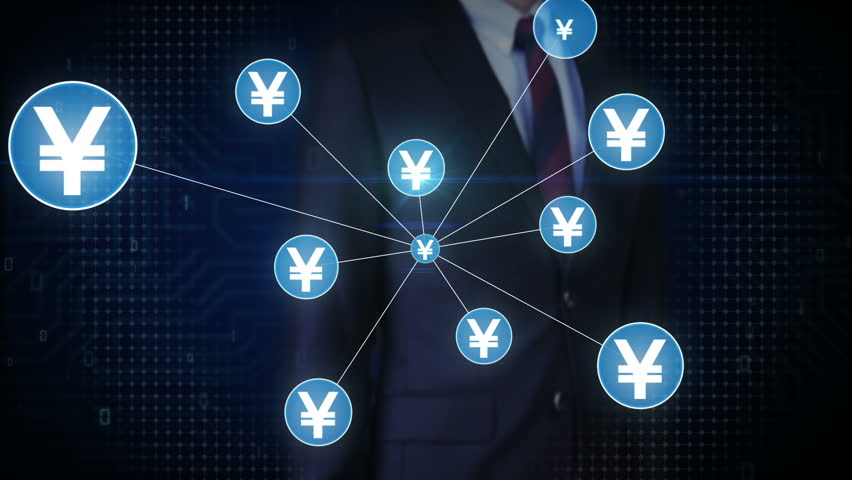 Businessman touching Yen currency symbol, Numerous dots gather to create a Yen currency sign, dots makes global world map, internet of things. financial technology 1. | Shutterstock HD Video #30618337