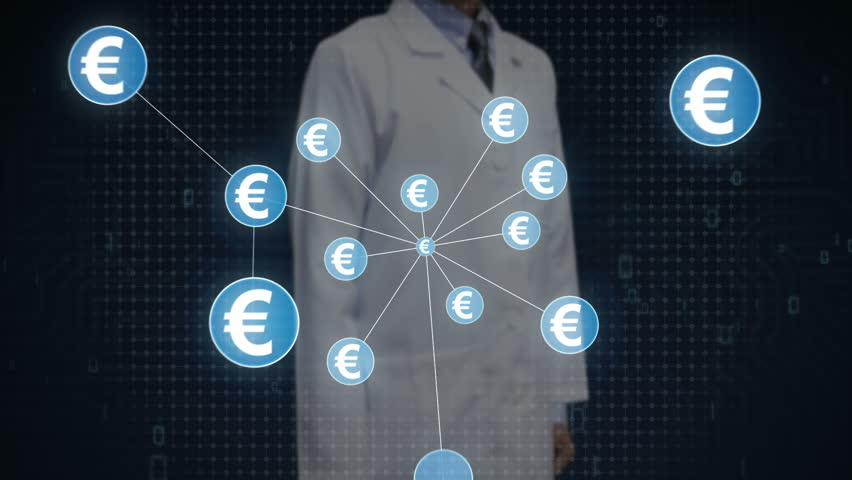 Scientist, engineer touching Euro currency symbol, Numerous dots gather to create a Euro currency sign, dots makes global world map, internet of things. financial technology 1. | Shutterstock HD Video #30618367
