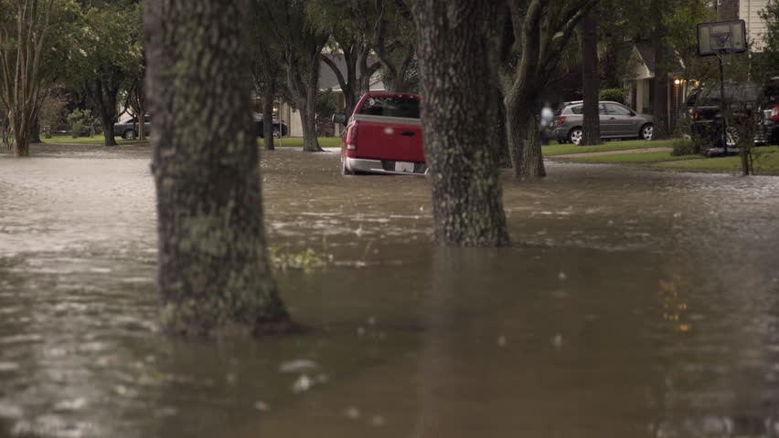 Suburban neighborhood flooded after hurricane Harvey in houston texas 4k