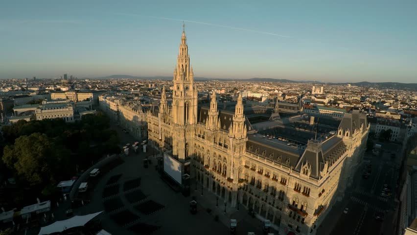 Aerial view. Vein. Vienna. Wien. Vienna City Hall. Rathaus. Austria. Shot in 4K (ultra-high definition (UHD)). | Shutterstock HD Video #30644917