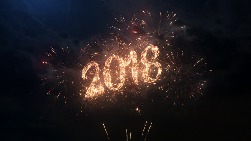 2018 Happy New Year greeting text with particles and sparks on black night sky with colored slow motion fireworks on background, beautiful typography magic design. | Shutterstock HD Video #30649330