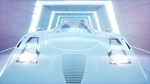 futuristic flying car with woman fast driving in sci fi tunnel, coridor. Concept of future. Realistic 4k animation. Loopable.