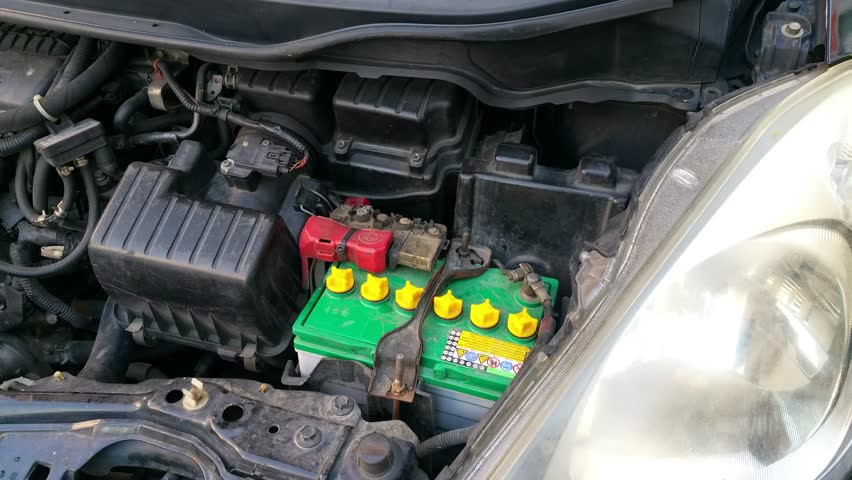 Check Car Battery With Distilled Water Stock Footage Video