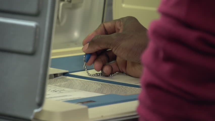 Voting, close up of hands punching ballot
