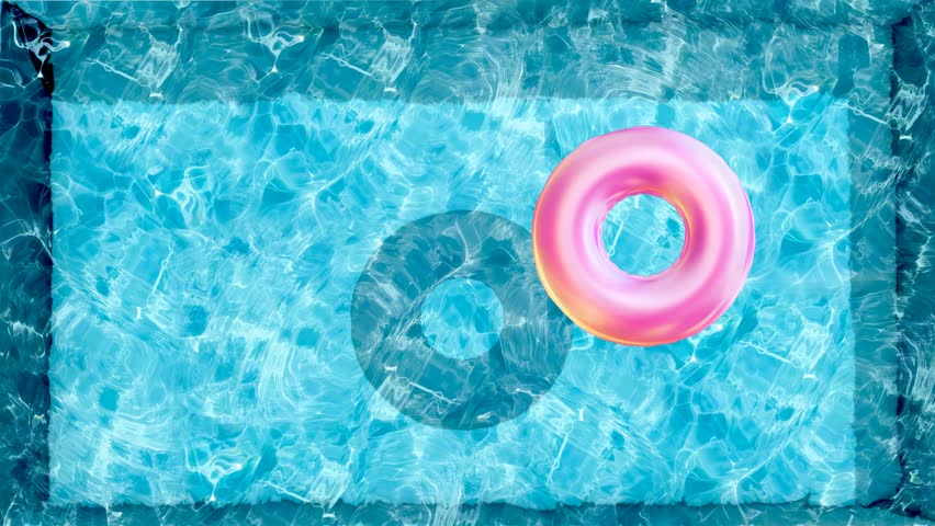 Floating Rubber Ring In Water Pool Beach Ball Swimming Top View Of Surface Texture Sun Shine Bright Looping Slow Motion