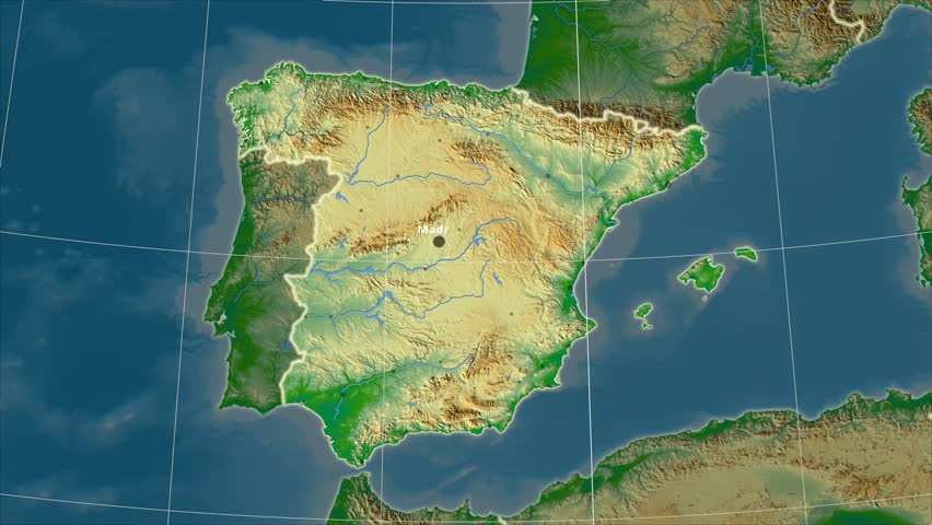 The Spain area map in the Azimuthal Equidistant projection. Layers of main cities, capital, administrative borders and graticule. Colored physical map
