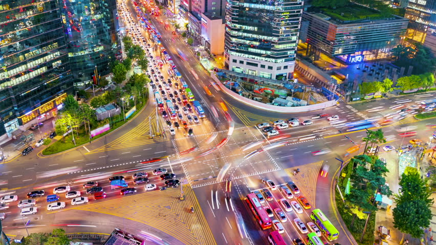 Timelapse Traffic at night in Gangnam City Seoul, South Korea.Zoom out | Shutterstock HD Video #30863170