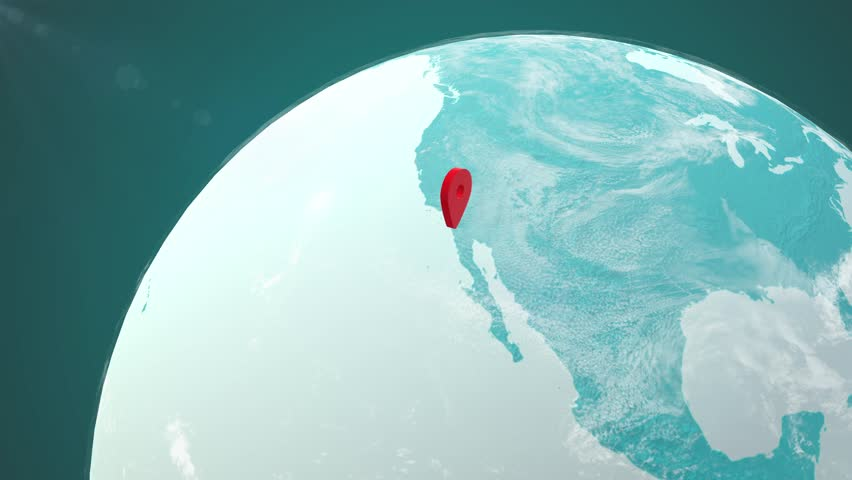 Closeup on a Planet Globe with World Map and Markers over Los Angeles, California, United States and Pyongyang, North Korea. Distance between Los Angeles and Pyongyang concept. | Shutterstock HD Video #30872443