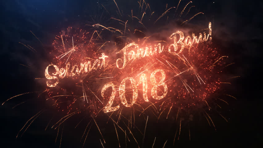 2018 happy new year greeting stock footage video 100 royalty free 4k00352018 happy new year greeting text in indonesian with particles and sparks on black night sky with colored slow motion fireworks on background m4hsunfo