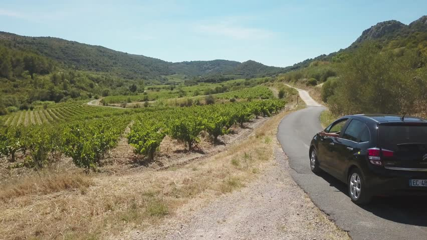 Aerial view of car driving through vineyards in France. Road trip flying above car on highway in the French countryside. 4k footage of black car on road in green farm landscape for summer vacation.