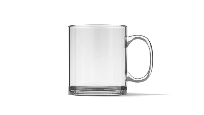 Blank glass tea mug mockup isolated, looped rotation, clipping masks, 3d rendering. Clear 11 oz transparent cup mock up for sublimation printing for branding. Glassy tankard design, front side view. | Shutterstock HD Video #30895840