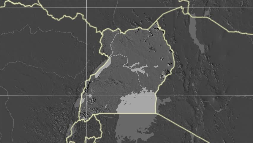 The Uganda area map in the Azimuthal Equidistant projection. Layers of main cities, capital, administrative borders and graticule. Elevation & bathymetry - grayscale contrasted