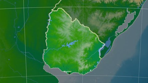 The Uruguay area map in the Azimuthal Equidistant projection. Layers of main cities, capital, administrative borders and graticule. Colored physical map