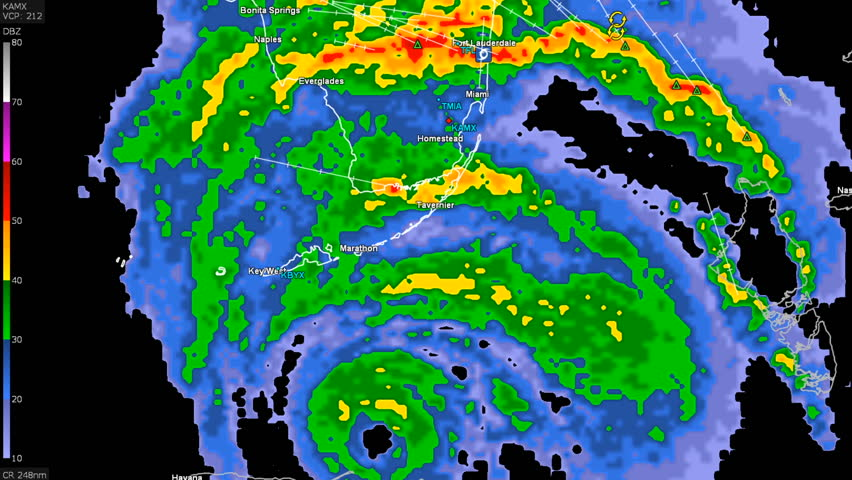 Hurricane Irma on doppler weather radar over Florida
