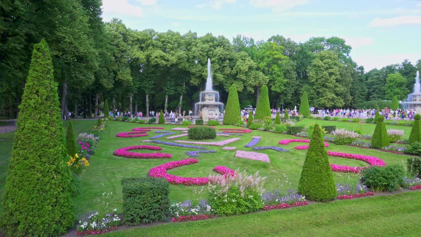 panorama of a beautiful summer park with fountains peterhof 4k stock video clip