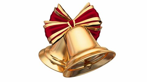 Golden Christmas bells with red ribbons and bows 3D native 60 fps animation with alpha matte